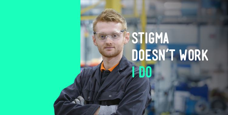 "Mobile banner image for No Stigma campaign showing a mechanic saying ""Stigma doesn't work, I do"""